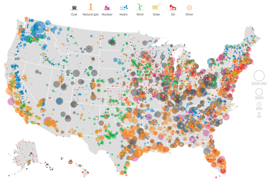 INFOGRAPHIC Mapping Every Power Plant In The United States - Us map of nuclear power plants