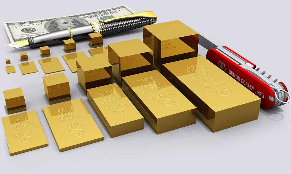 Gold bullion bars including a 1 kilo bar