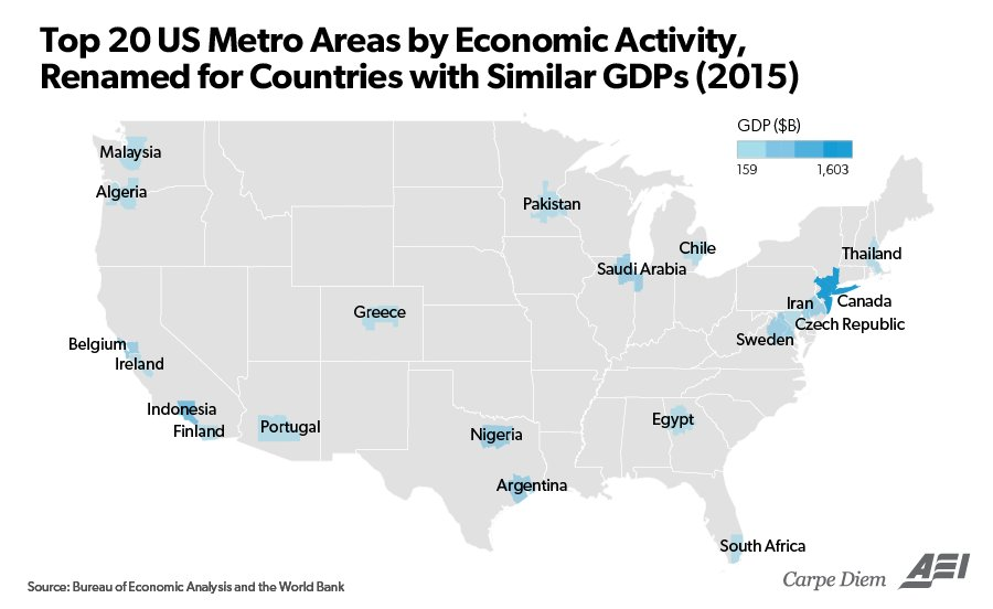 These  Maps Help To Visualize Americas  Trillion Economy - Us gdp map