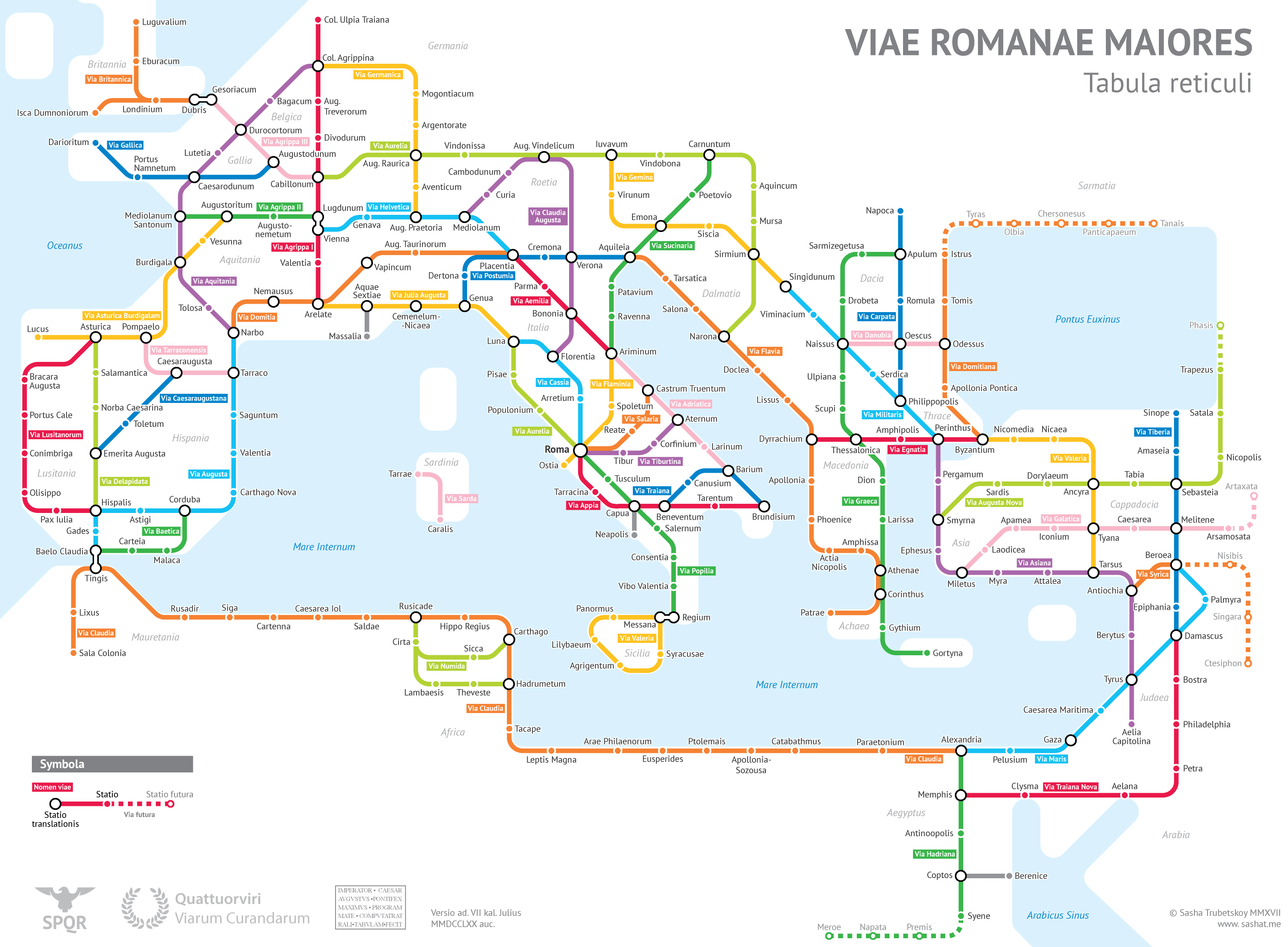the roman empires roads in transit map form