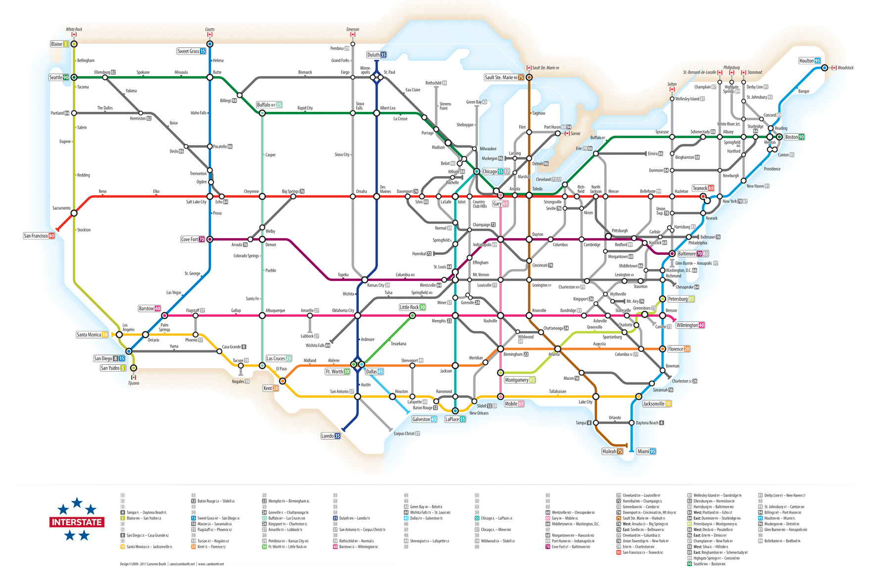Infographic US Interstate Highways as a Transit Map