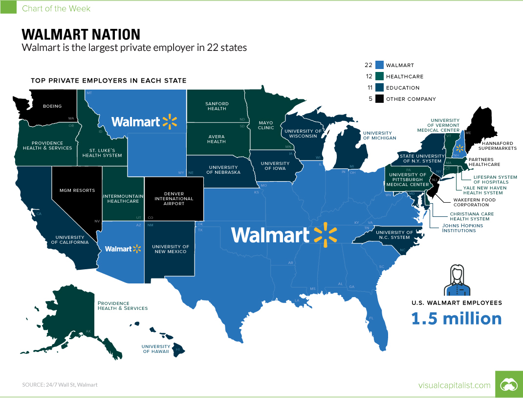 Walmart Nation Mapping the Largest Employers in the US